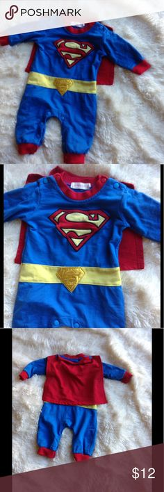 SUPERMAN Halloween Costume Nyan Cat 9 months EUC Super cute Superman costume by Nyan Cat size 9 months. No size label. Blue with Superman logo and yellow belt. Button on cape. Snap closure for easy diaper access. Nyan Cat One Pieces Bodysuits