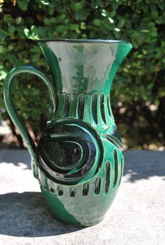 Vintage Mid Century Emerald Green and Black Italian Pottery Pitcher