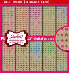 50% SALE Rainbow kraft digital paper 12x12 Premade scrapbook pages Glitter jelly bean dots papers pack Printable gift wrap download by StudioDprint