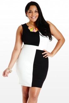 """Plus Size Building Blocks Sheath Plus Size Dress"" love the color block design and black and white are great"