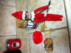 Our elf, Jake got into the peanut butter.
