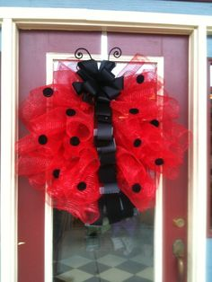 Ladybug Red and Black Polka Dot Wreath with poly deco mesh