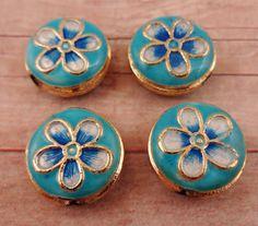 Enamel Cloisonne Beads Blue White Gold by StoneWingSupplies, $4.50