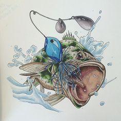 Tattoo Flash: Bass Sleeve Tattoos, Owl Tattoos, Tattoo Ink, Fish Tattoos, Arm Tattoos Drawing, Fisherman Tattoo, Bass Fishing Pictures, Tropical Tattoo, Hunting Tattoos