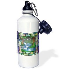 3dRose Christmas Seven Swans A Swimming with patterns, Sports Water Bottle, 21oz
