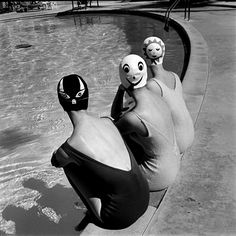 Ralph Crane. Bathing caps with faces, 1950s