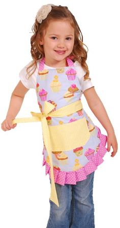 "Could DIY- Get Black ribbon for the bottom, ties, and ""belt"" to match Callie's cow print fabric for her apron. have tie ribbons AND velcro on one side of back and neck so that she can do it herself but so that it also grows with her! Flirty Aprons, Cute Aprons, Cow Print Fabric, Childrens Aprons, Kids Apron, Aprons For Kids, Techniques Couture, Sewing Aprons, Diy Couture"