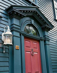 Paint Palettes for Colonial & Colonial Revival Houses - Old-House Online A richly colored Federal house in Newport, Rhode Island, has a contrasting scheme is in patriotic blue and red. (Photo: Eric Roth)