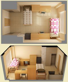 Another idea for the layout of the room. This way, you don't necessarily have to have matching things to make the room look balanced