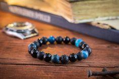 8mm  Black onyx matte black onyx blue agate & lava stone