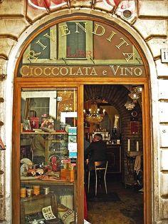 Libri, cioccolata e vino, in Rome, Italy.