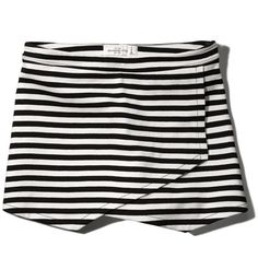 Abercrombie & Fitch Wrap Front Skort (1.830 RUB) ❤ liked on Polyvore featuring skirts, mini skirts, bottoms, shorts, skort, black and white stripe, striped mini skirt, black and white striped mini skirt, black and white stripe skirt and wrap front skirt