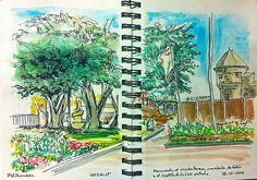 Castillo de la Luz, carabela y monumento al cambullonero - 45 SketchCrawl - Las Palmas de Gran Canaria