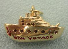 Vintage 14K YG and Red Enamel Bon Voyage Ship 3-D Charm or Pendant...