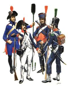 French; Army in Egypt/Syria 1799 Lto R Private Foot Artillery, Corporal of a Line Infantry Demi-brigade, Brigadier Horse Artillery andd a Light Infantryman: