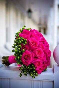 Bouquet de roses fuchsia