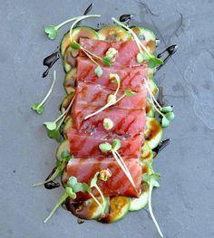 Ahi Tuna Crudo with Sweet Soy, Wasabi and Cucumber on www.formerchef.com  Crudos-how to dress up your sashimi.