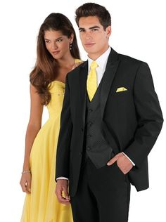 Two Button Tuxedo with Canary Yellow Tie and Black Vest
