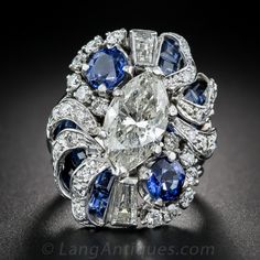 3.00 Carat Marquise Diamond and Sapphire Cocktail Ring