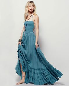 Maxi Backless Hippie Style Dress - Blue Check us out on www.boohoden.space