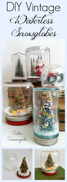 """Old jars- Mason or otherwise- when paired with vintage bottlebrush trees, antique Santa figurines, faux snow, and festive trimmings become the perfect Christmas decoration- waterless snowlglobes! An easy DIY project that anyone can do, it's a great way to display AND store your miniature Christmas """"bits"""". Fun, festive, and inexpensive upcycling / repurposing by #SadieSeasongoods"""