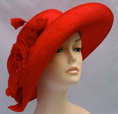 Red Parasisal Straw Women's Hat Hand Blocked by Makowsky Millinery