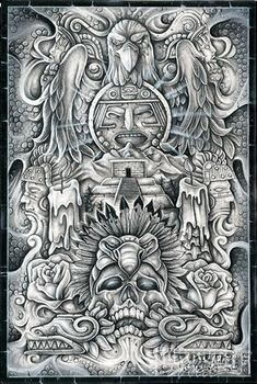 Check out Manuel Luis Golden's winning artwork from the February/March 2013 issue of Lowrider Arte. Mayan Tattoos, Mexican Art Tattoos, Inca Tattoo, Indian Tattoos, Arte Cholo, Cholo Art, Chicano Art Tattoos, Chicano Drawings, Car Drawings
