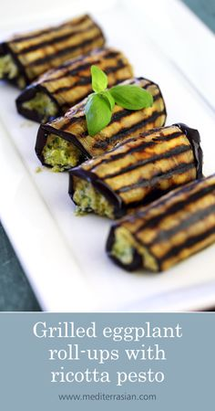 Grilled eggplant roll-ups with ricotta pesto - eggplant recipes Vegetarian Grilling, Grilling Recipes, Gourmet Recipes, Vegetarian Recipes, Cooking Recipes, Healthy Recipes, Gourmet Foods, Best Eggplant Recipe, Grilled Eggplant Recipes