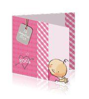 Roze-wit meisjes babykaartje getekend