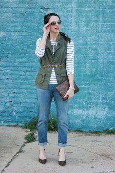 Stripes + Leopard Belt + Old Navy Vest // Fashion and Beauty Finds