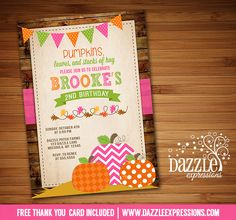 Printable Girls Rustic Pumpkin Patch Birthday Invitation | Pink and Orange Party | Fall Festival | October Birthday | DIY | Digital File | FREE thank you card included | Matching printable party package available! Banner | Cupcake Toppers | Favor Tags | Water Bottle Labels | www.dazzleexpressions.com