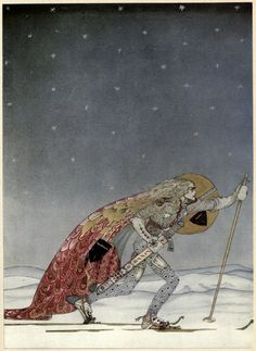 This is my all time favorite Kay Nielsen Image: 2 thoughts: the skies! and that uber aggressive /focused face. Kay Nielsen's Stunning 1914 Scandinavian Fairy Tale Illustrations – Brain Pickings Kay Nielsen, Old Illustrations, Children's Book Illustration, Botanical Illustration, Fairy Tale Illustrations, Harry Clarke, Illustrator, East Of The Sun, Arthur Rackham