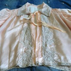 Vintage Bed Jacket 1940s Peach Satin Lingerie Bed by Sawbucks