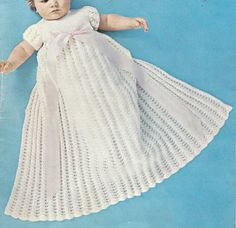 Vintage Pattern Christening Gown and short Party by JackieKnitsAll, $2.50