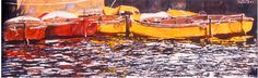 """flotilla mevagissey u.k  12"""" x 40"""" micheal zarowsky watercolour on arches paper / private collection"""