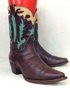 13efb3e2b88a4 Lucchese Charlie 1 Horse Sz 6.5 B Womens Chocolate Inlay Leather Western  Boots  Lucchese