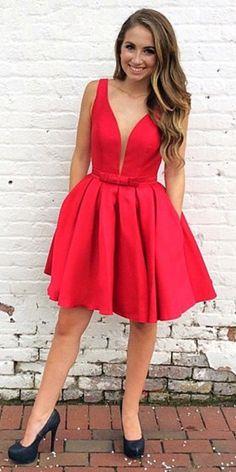 2017 short homecoming dress, short red homecoming dress, homecoming dress with pockets. simple short red homecoming dress