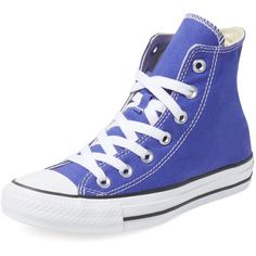 Converse Chuck Taylor All Star Hi Top ($39) ❤ liked on Polyvore featuring shoes, sneakers, bright blue, high top trainers, high top lace up shoes, converse shoes, lacing sneakers and laced shoes