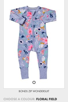 Bonds Wondersuit Floral Field print. This was the first outfit Emilia wore.  My Baby b18594eff68d