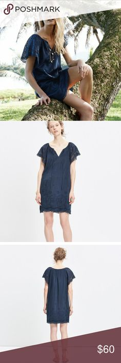 """Madewell Moontide Eyelet Dress PRODUCT DETAILS  A throw-it-on-and-go dress in rich eyelet lace. Made of a special cotton-silk blend, this one can totally handle that day-to-night thing.   Nonwaisted. Falls 35"""" from highest point of bodice.  Cotton/silk. Machine wash. ItemF2220.  Like new condition. 16"""" across from pit to pit. Size XS. Would fit an XS as well. Madewell Dresses Midi"""