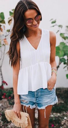 #summer #outfits White Peplum Tank + Ripped Denim Short // Shop this outfit in the link