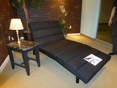 Customatic displayed the Spree adjustable bed, a lounger for the living room or bedroom.