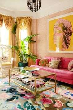 "This Colorful San Francisco House Is Like a ""Victorian on Ac. - This Colorful San Francisco House Is Like a ""Victorian on Acid"" This Colorful San Francisco Ho - Living Room Designs, Living Room Decor, Bedroom Decor, Living Spaces, Colorful Living Rooms, Retro Living Rooms, Mod Living Room, Colourful Bedroom, Colorful Couch"