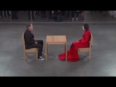 """The Artist is Present ""- This piece by the grandmother of performance artists, Marina Abramovic age 63,, at MOMA - People are to sit down, look at her and she them for one minute.  This film captures the moment when Ulay, an ex lover from her old days, surprises her -"
