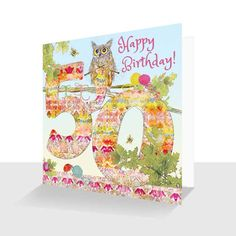 A 50th Birthday card featuring Oakley Owl from an original painting by artist Kay Burton. From paintings illustrating the story of Oakley Owl and Friends in the Down the Lane Collection. The design continues to the back of the card for that luxury touch.