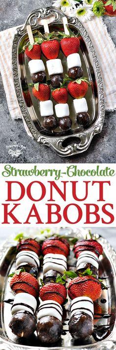 Strawberry Chocolate Donut Kabobs  @FarmRichSnacks