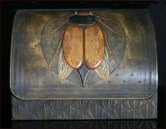 art nouveau wooden boxes | RARE ANTIQUE ART NOUVEAU LEATHER WOOD BEETLE LETTER BOX