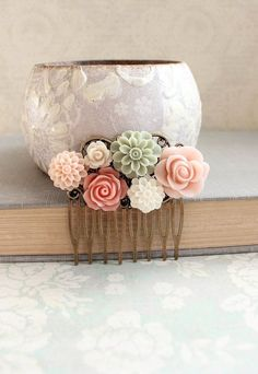 Pink Flower Hair Comb Floral Collage Comb by apocketofposies