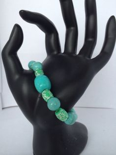 Blue beaded bracelet on Etsy, $5.00