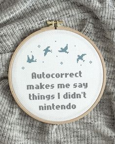 Autocorrect can be a pain in the bump sometimes, but it can be a bit fun sometimes as well. Don't you agree? 😆 Autocorrect kan vara riktigt jobbigt ibland, men lite kul kan det bli ibland också. Håller du inte med? 😆 Embroidery For Beginners, Finding Peace, Cross Stitch Designs, Diy Kits, Tool Design, Design Crafts, Wall Hangings, Design Your Own, Cross Stitch Embroidery